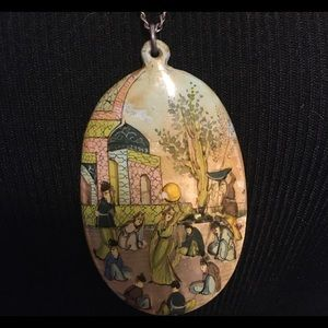 Jewelry - Vintage Persian Hand Painted Story Pendant on MOP